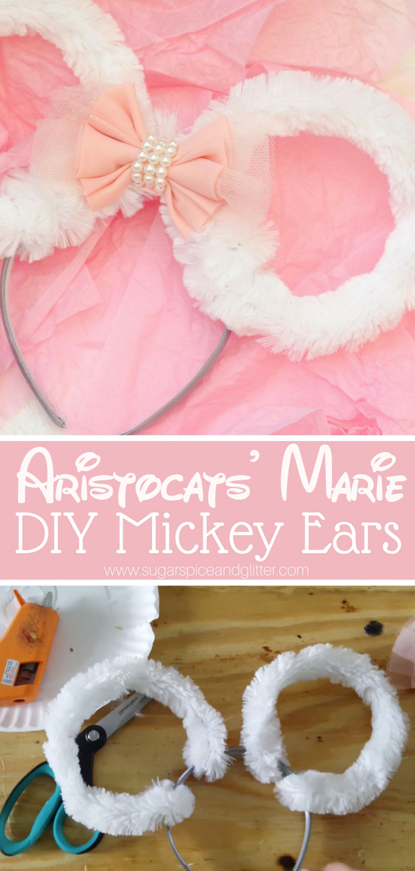 Custom DIY Disney Mickey Ears inspired by Aristocat's Marie, a fun Disney craft before you head to Disneyworld