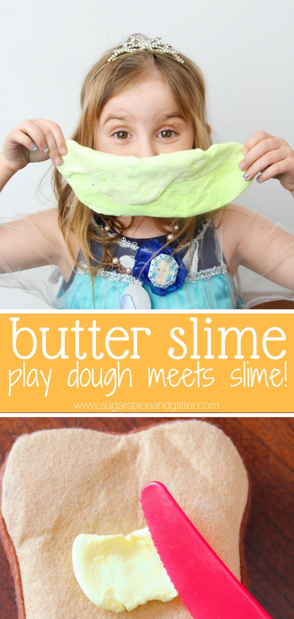 Slime that's not messy? A fun play dough-slime hybrid, this butter slime can be molded into different shapes and is great for relieving tension. We love it for kitchen play!