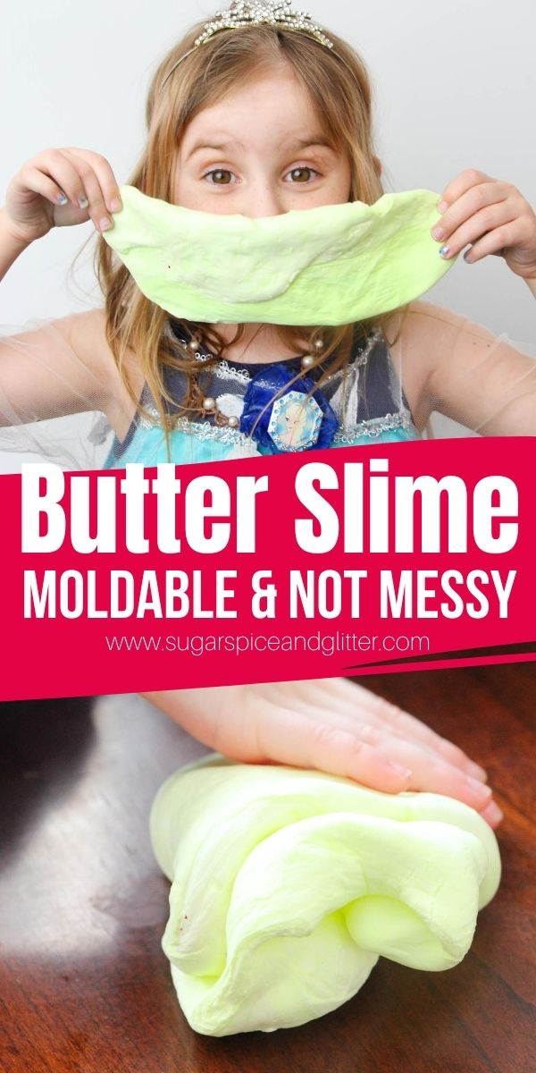 How to make not-messy, moldable butter slime - two different ways! This squishy slime is great for avoiding slime messes and is like a play dough-slime hybrid
