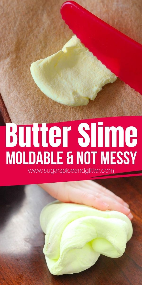 Easy Butter Slime recipe - a moldable slime similar to play dough. Squishy and great for relieving tension