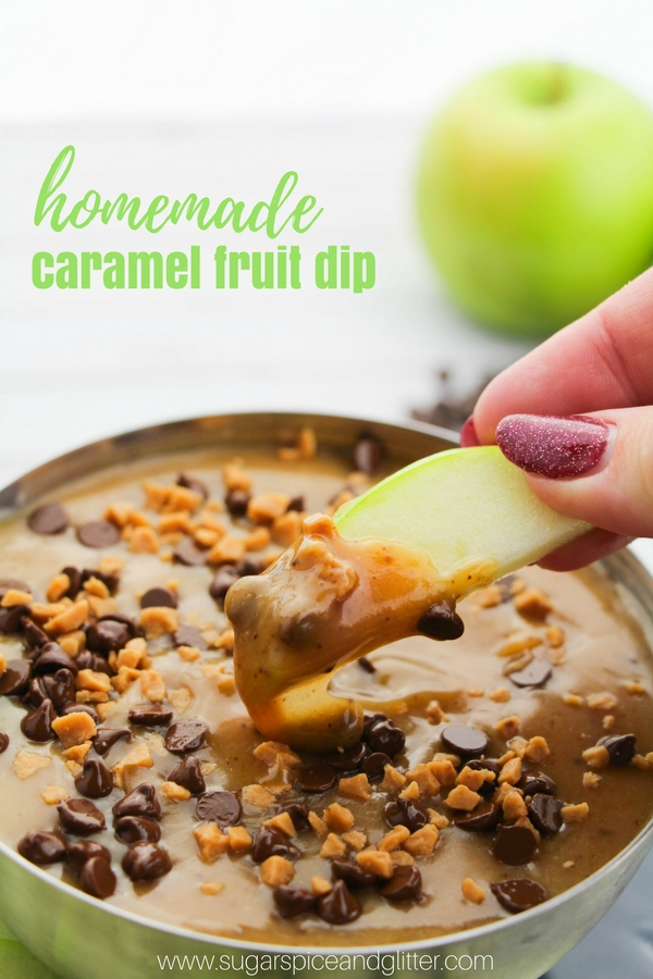 A delicious and easy fruit dip for parties, this homemade caramel dip is buttery, decadent and a guaranteed way to increase your fruit intake