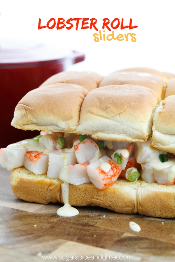 A delicious slider recipe for Lobster Roll Sliders, using fresh lobster, a homemade dijon-mayo and buttered toasted buns. The perfect summer seafood appetizer