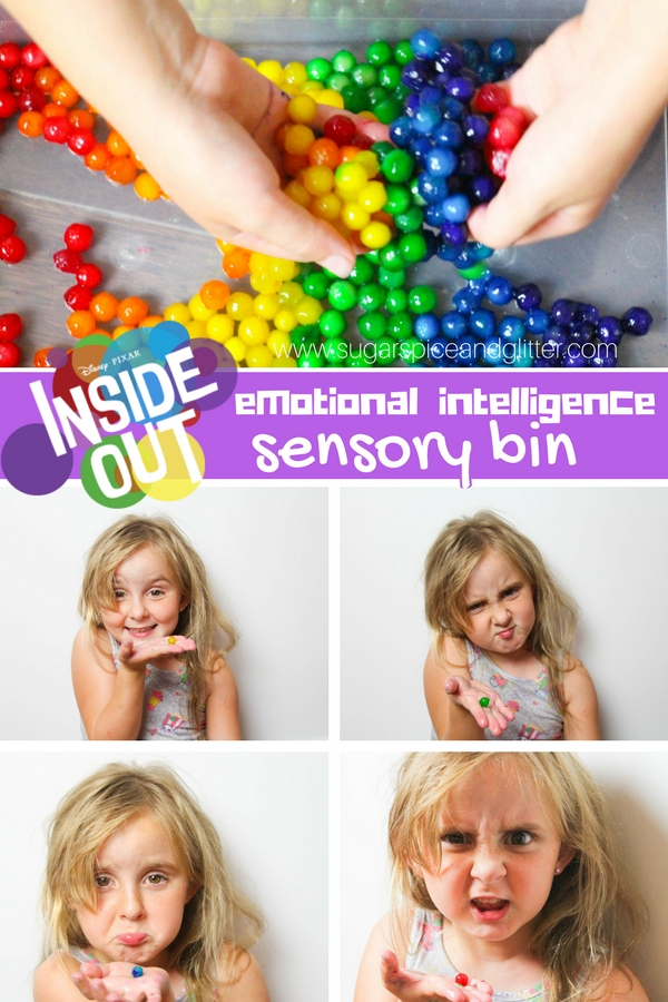 A fun way to get kids talking about and understanding their emotions - this Emotional Intelligence Sensory Bin is a great activity to try after watching Disney's Inside Out