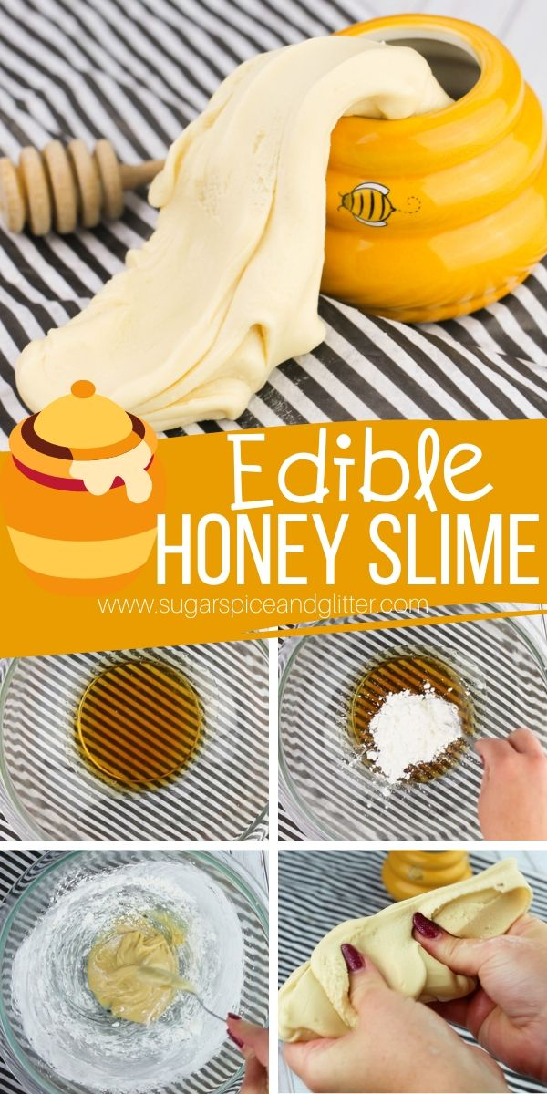 A super stretchy edible slime make with just 3 ingredients! This honey slime is perfect for using up that last little bit of honey in the jar and would be great for a family movie night