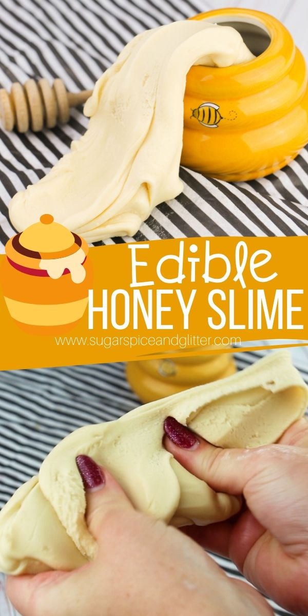 Stretchy, squishy edible honey slime recipe that you can eat! Kids will love this edible slime for a Winnie the Pooh party or Teddy Bear picnic