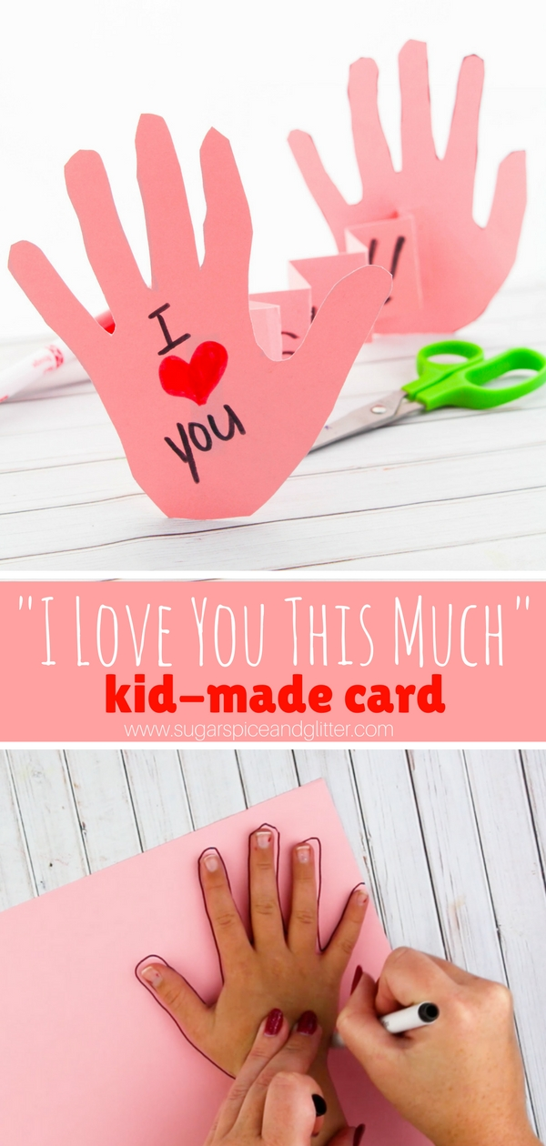 How sweet is this handmade kid's card telling you just how much they love you? Perfect for Mother's Day or Valentine's Day