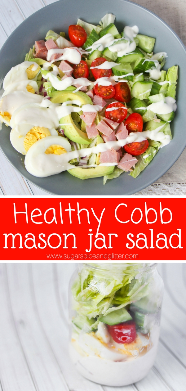 Prep once and enjoy fresh cobb salads all week long with this fun mason jar salad recipe. We're also making homemade cobb salad dressing!