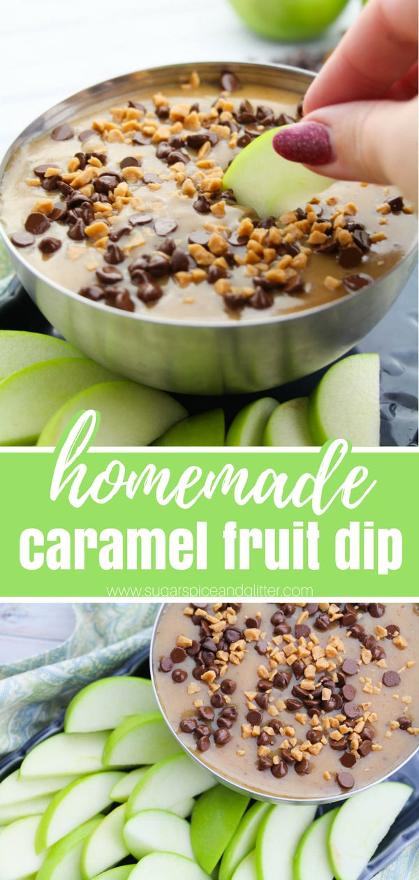 Homemade caramel fruit dip is super easy, decadent and guaranteed to increase your fruit intake! A delicious dip for parties using just 5 ingredients - plus a method for making caramel without corn syrup