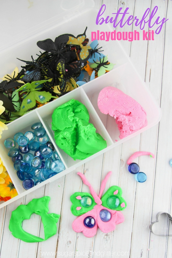 A homemade butterfly play dough kit is a gorgeous gift idea or a fun way to engage in some spring sensory play with your kids