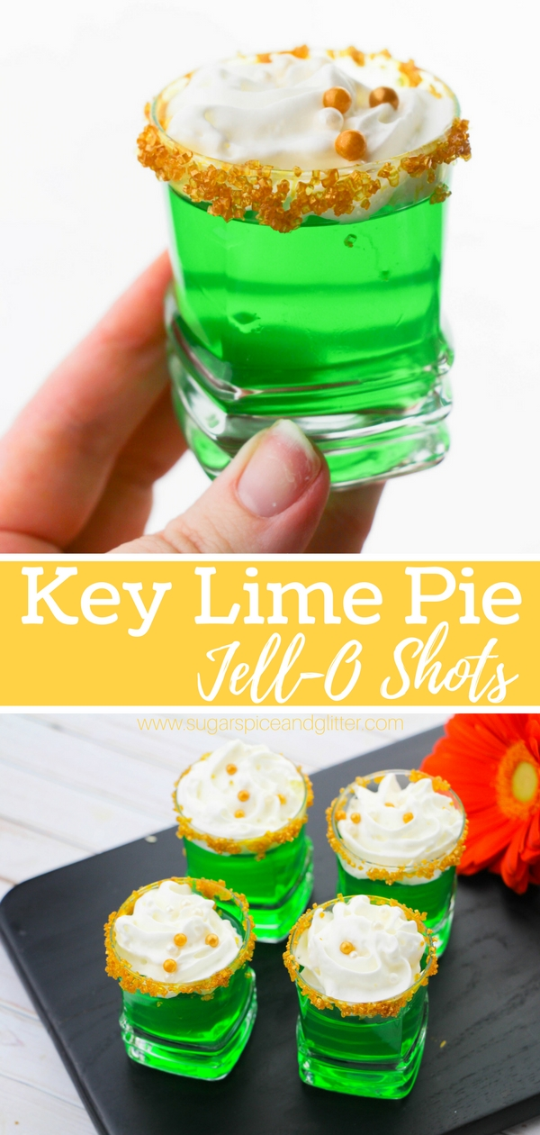 How to make Jell-O shots with vodka that taste like key lime pie! Also the perfect cocktail for football tailgates, St Patrick's Day or Mardi Gras