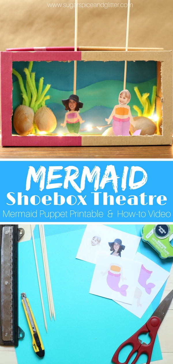 This whimsical mermaid shoebox puppet theatre is a fun homemade toy for the mermaid-obsessed kid, and a great summer craft. We also have a craft video for this mermaid craft to walk you through every step of the way and a Mermaid Printable!