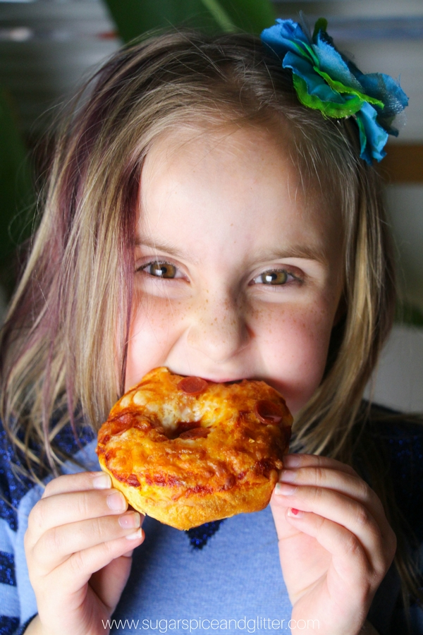 Kids love this simple pizza donut recipe - perfect for movie nights