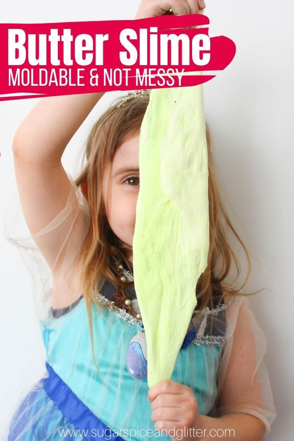 How to make not-messy, moldable butter slime - two different ways! This squishy slime is great for avoiding slime messes and is like a play dough-slime hybrid. Perfect for kids who love to SQUISH things!