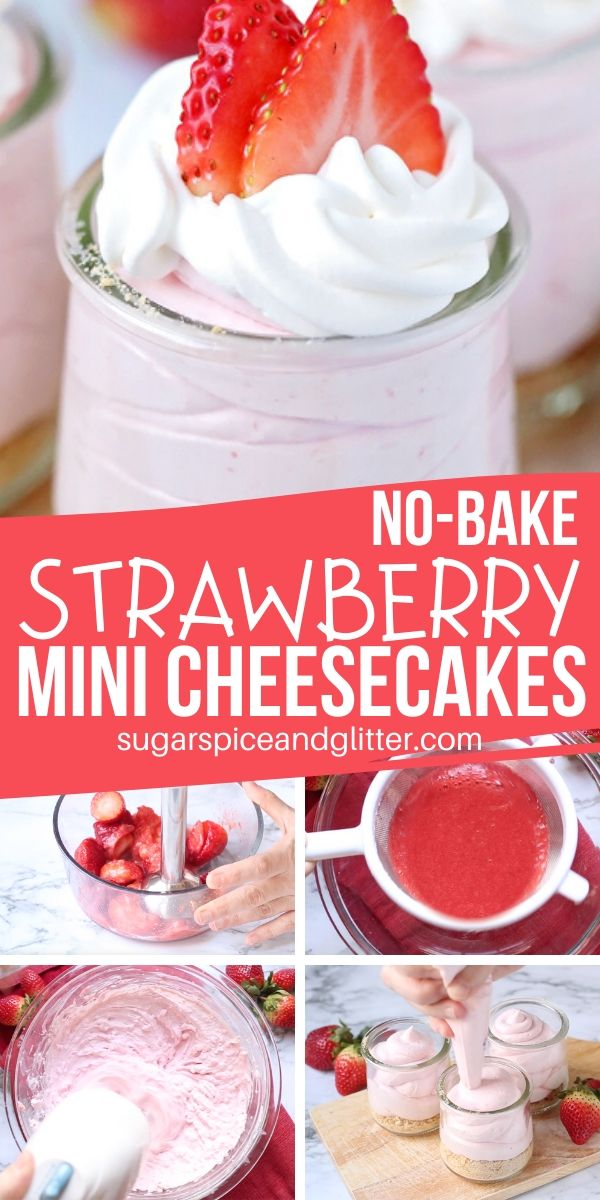 The BEST strawberry cheesecake recipe - no bake mini cheesecakes! Super simple, using fresh or frozen strawberries, ready in less than 20 minutes