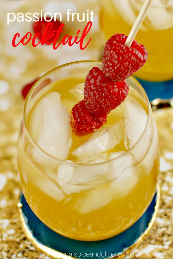 A delicious Passion Fruit cocktail recipe using raspberry vodka and limoncello, for a fruity and tart cocktail perfect for summer
