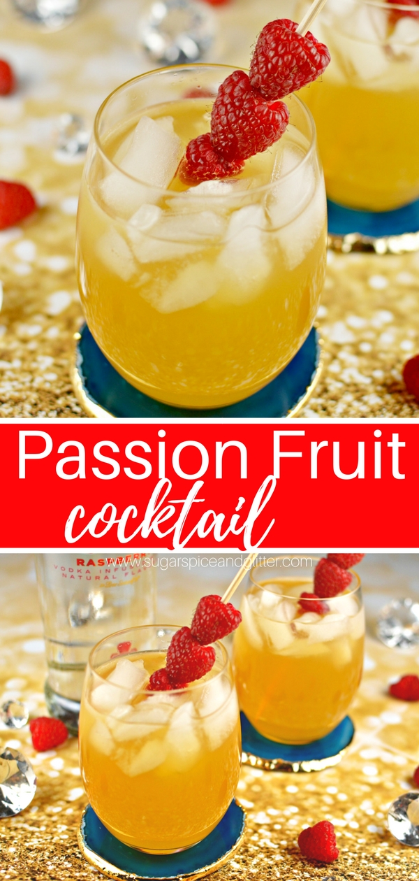 This fruity and tart passion fruit cocktail recipe is a fun vodka cocktail recipe for your next ladies night or just a hot summer day. Uses raspberry vodka and limoncello
