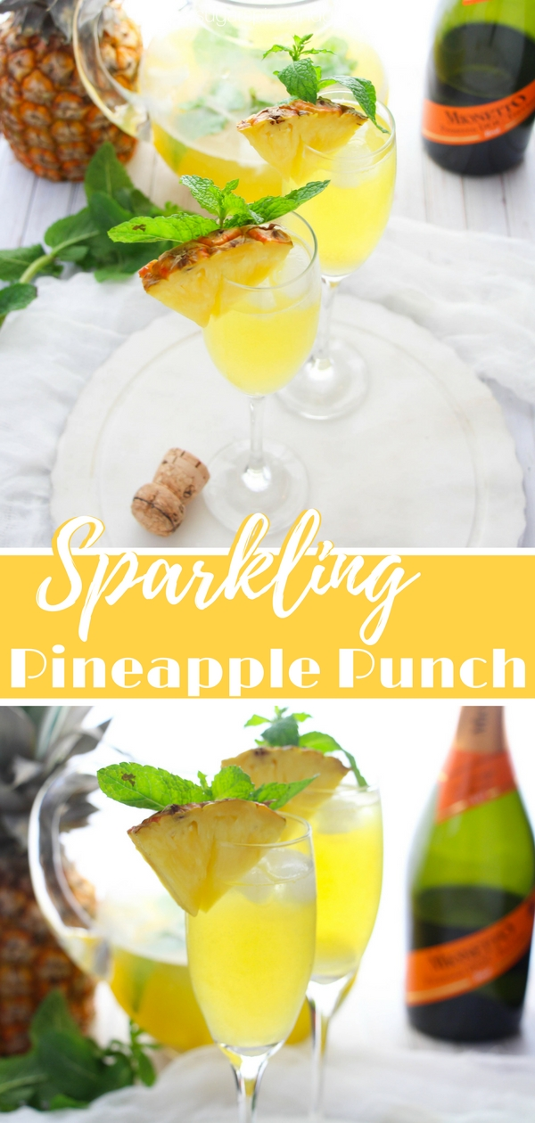 Sparkling Pineapple Punch is a fun brunch cocktail with fresh pineapple and mango juices spiked with prosecco and rum