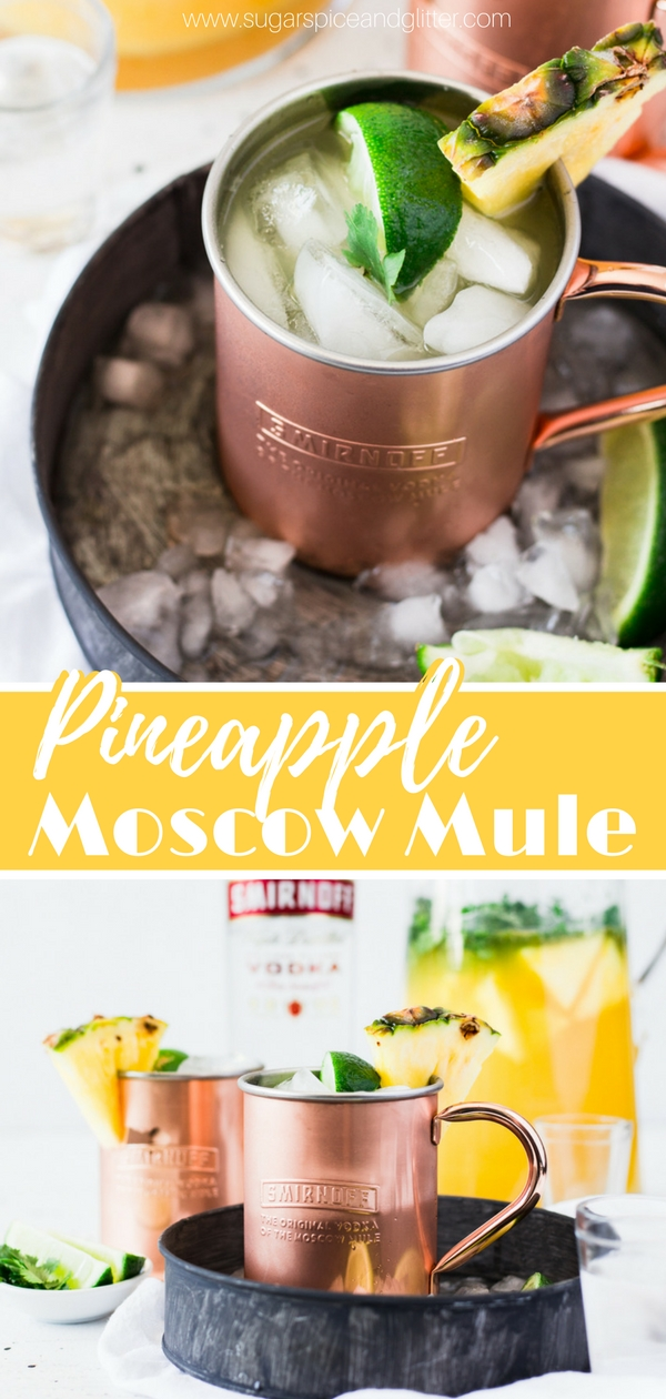 A fun twist on a Moscow Mule, this Pineapple Moscow Mule uses fresh pineapple, lime and cilantro to create the ultimate summer vodka cocktail