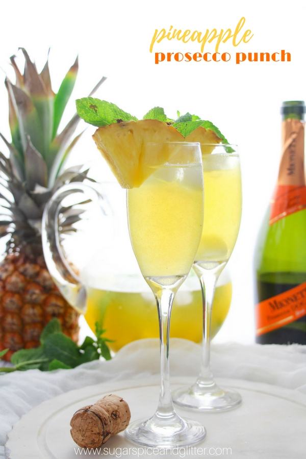 A delicious brunch cocktail, this pineapple prosecco punch is a delicious summer cocktail that packs serious punch