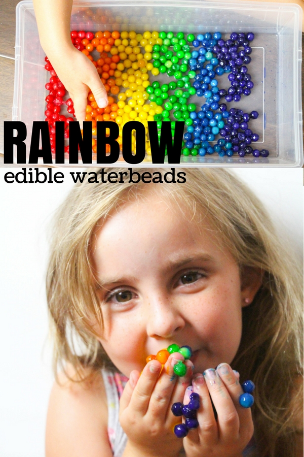 Edible Waterbeads for toddler-safe sensory play. How to make edible rainbow waterbeads with bright colors - perfect for any waterbead sensory bin