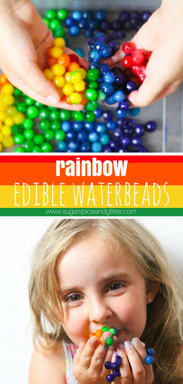 A quick and easy method for making DIY Edible Waterbeads for safe sensory play. These waterbeads are completely edible and can be made in bright rainbow colors - perfect for toddlers who may still be tasting everything!
