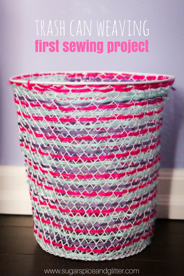 A fun first sewing project that also serves as a cute DIY for your kid's craft room, this Trash Can Weaving project is great for fine motor skills