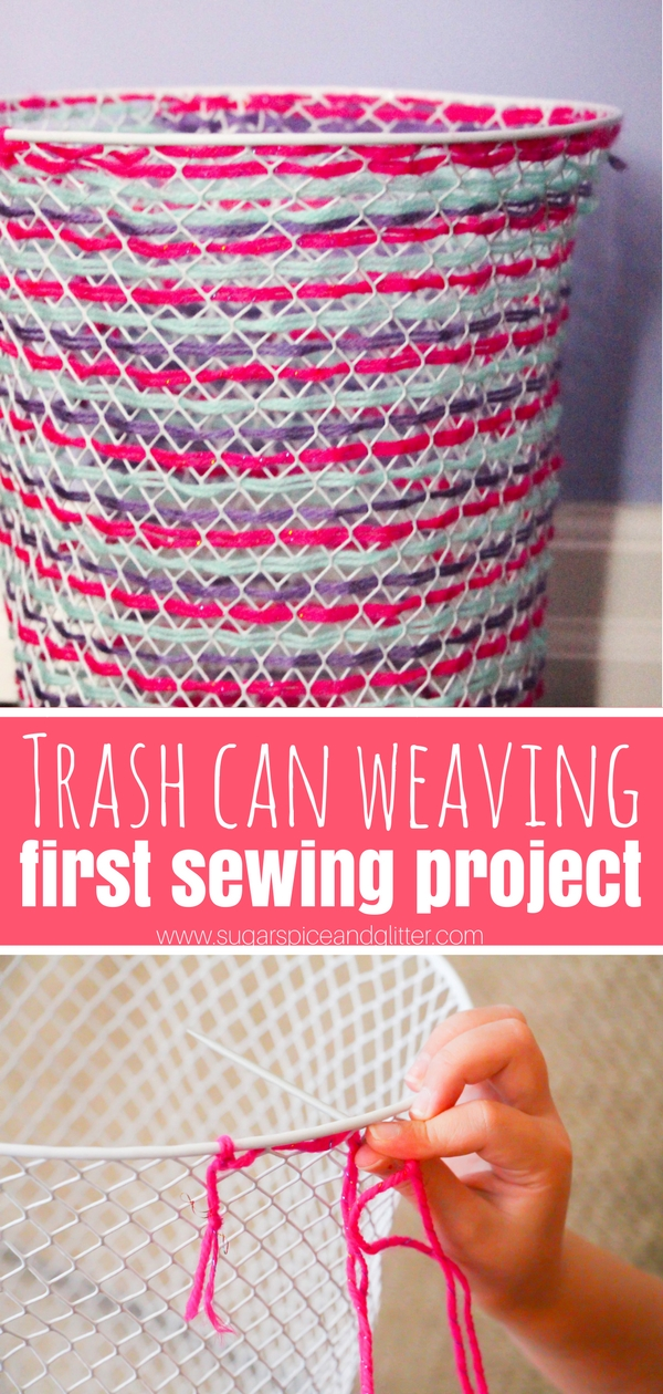 A fun and practical first sewing project, this woven trash can is a cute DIY decor idea kids can do while building sewing skills and fine motor skills