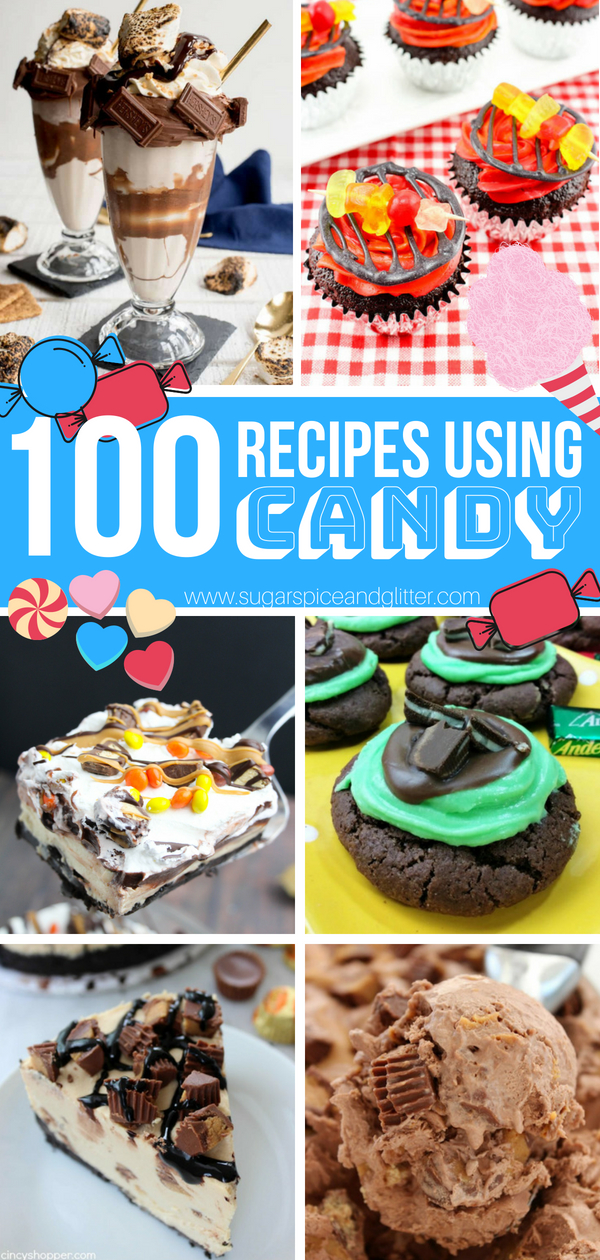 100 Recipes Made Using Leftover Candy - everything from No-Bake Recipes, Candy Ice Creams, Candy Bar Cupcakes, and more!