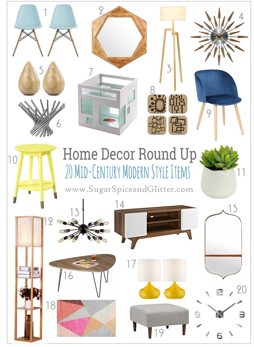 Modern mid-century home decor inspiration for the living room, this collection of vintage-style ideas is fresh and contemporary - and everything is budget-friendly.