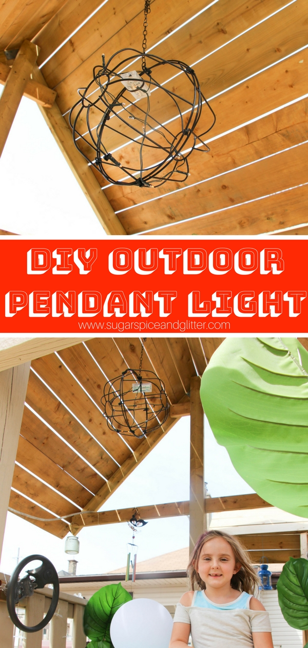 DIY Outdoor Pendant Light using everyday garden materials and fairy lights - check out how to make this DIY Pendant Light for your patio or treehouse