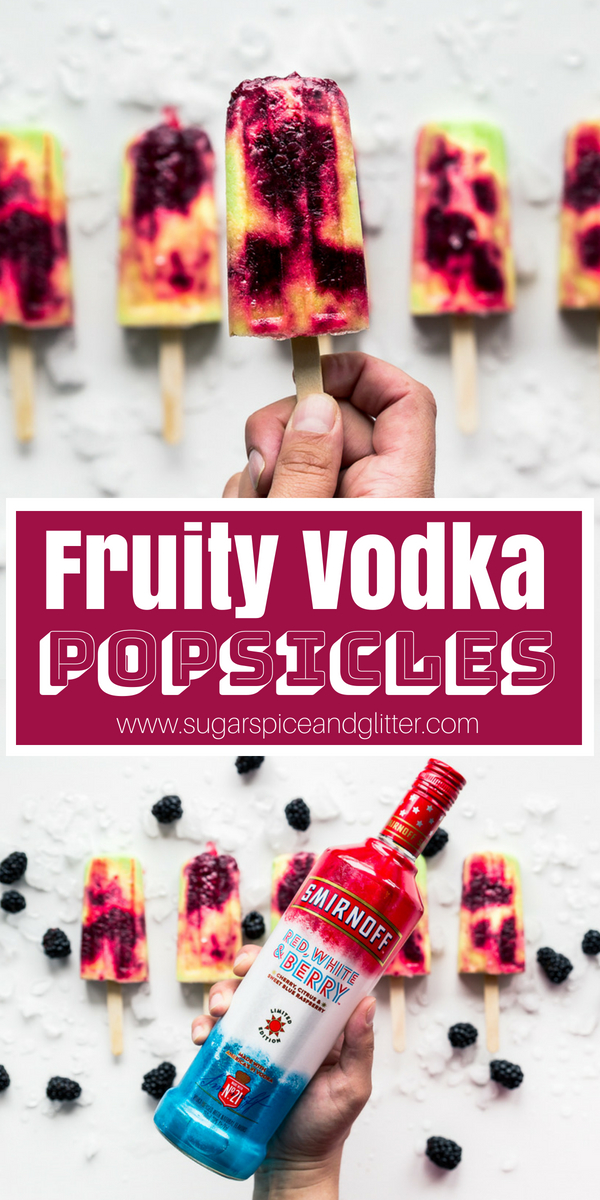 These Berry-Pina Colada Popsicles are Alcoholic Popsicles made with vodka, perfect for Summer BBQs or Ladies' Night! A delicious way to cool off and get your buzz on
