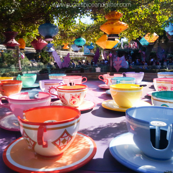 One of my favorite rides at Disneyland- the spinning teacups wait time is short and the ride is as crazy or calm as you make it!