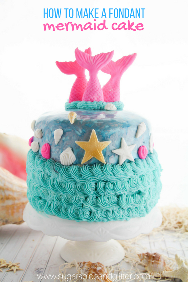 The perfect DIY mermaid cake for a mermaid birthday party! This simple fondant cake is easy enough for beginners and the results are absolutely magical