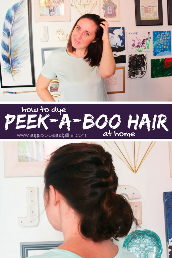 How to add a hidden under color to your hair - a fun hair color idea for brunettes for peekaboo purple hair