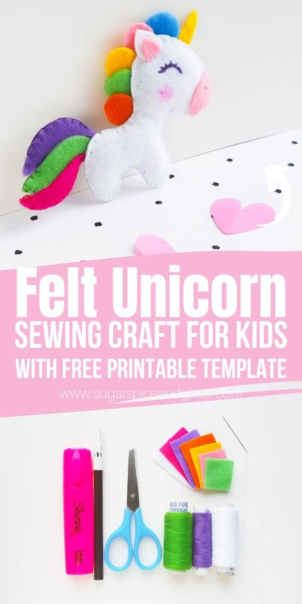 How to make a felt unicorn, a simple sewing craft for kids with a free printable pattern. Get your kids excited about sewing with this easy first sewing project