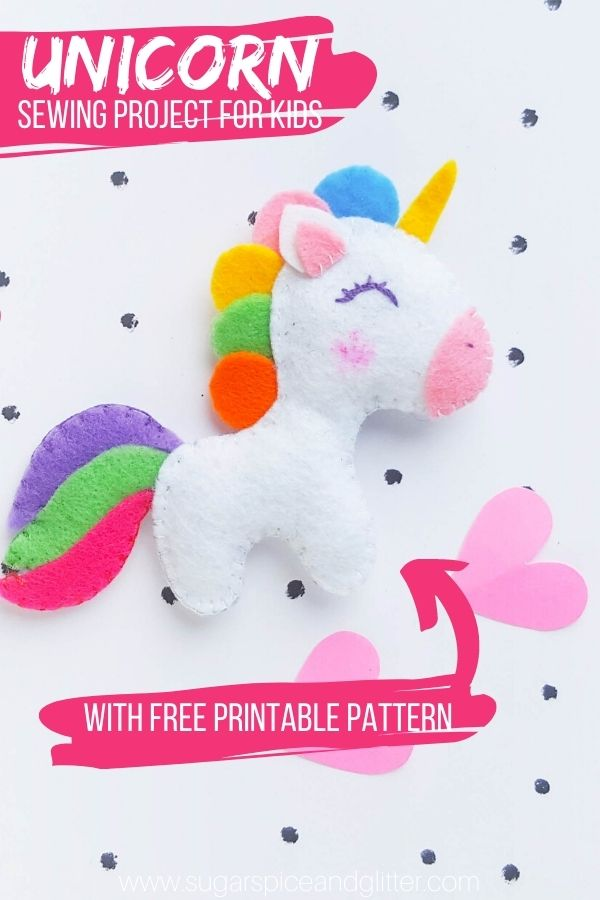 An easy felt sewing project for beginners, this unicorn stuffed animal is a cute DIY sewing project for kids