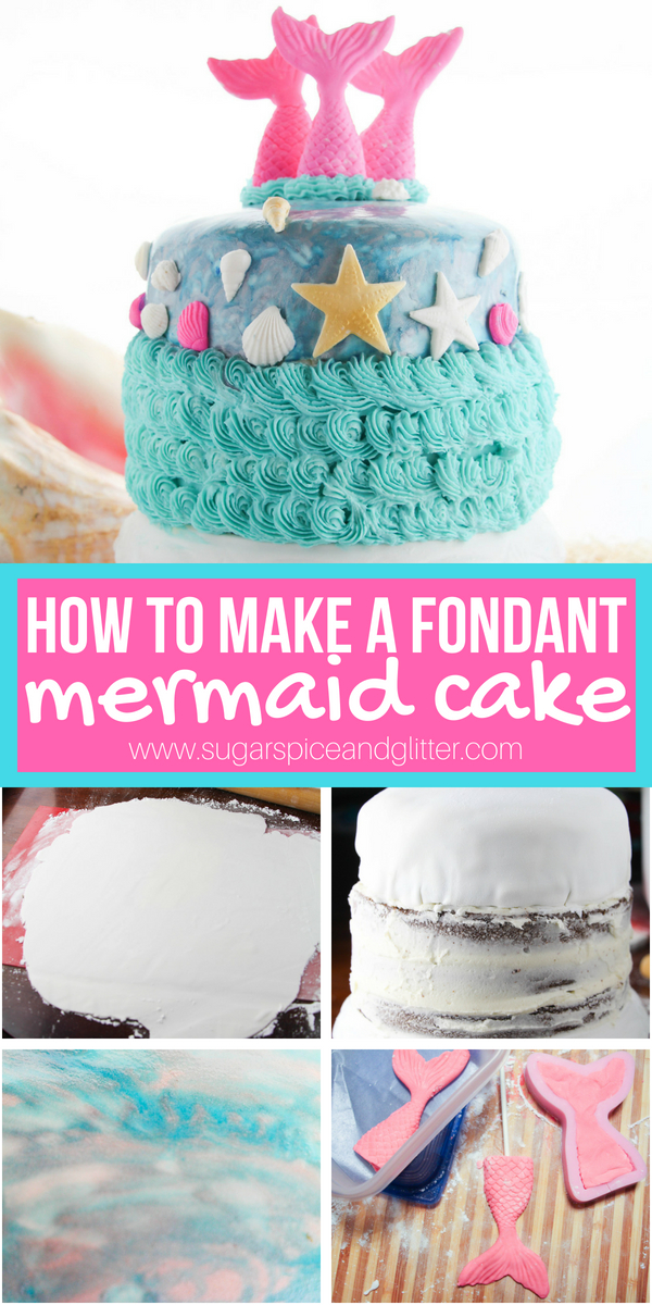 A step-by-step tutorial for how to make a fondant mermaid cake - easy enough for beginners! The perfect cake for a mermaid birthday party