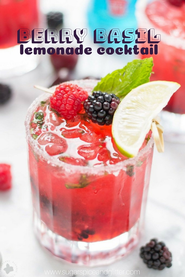 A delicious berry lemonade cocktail recipe using vodka and homemade basil simple syrup - the perfect summer cocktail recipe!