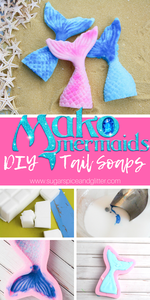 A cute DIY Mermaid Gift, these Mako Mermaid Tail Soaps are a fun and easy idea for mermaid party favors or a cute addition to a little mermaid's bath routine!