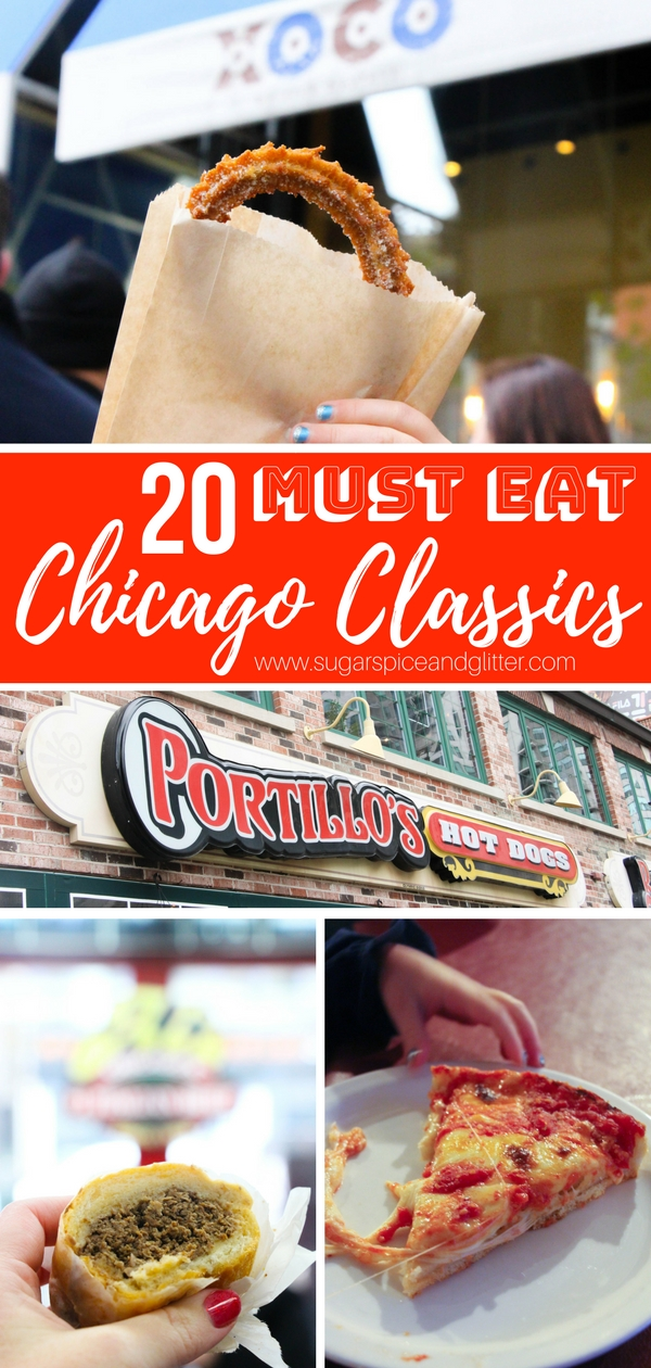 The 20 Must Eat Chicago Foods you need to try on your Chicago vacation - we've got the classics and some off-the-beaten path favorites, along wih our best Chicago restaurant recommendations to try each