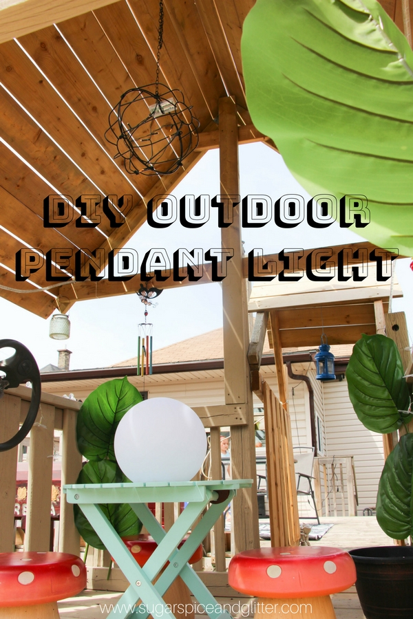 DIY pendant light for your deck or maybe even your child's treehouse! This easy DIY outdoor light was made from some surprising materials you probably already have - and if not, they'll only cost you like $4!