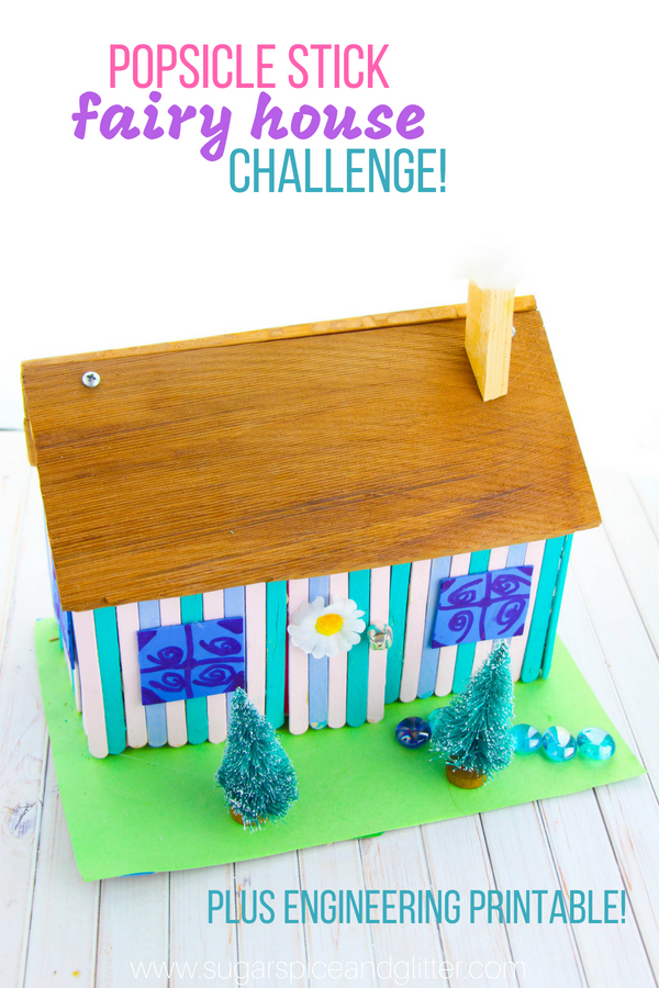 A fun STEAM project for fairy loving kids, this popsicle stick fairy house is a fun engineering challenge for kids on a rainy day or as part of an engineering unit