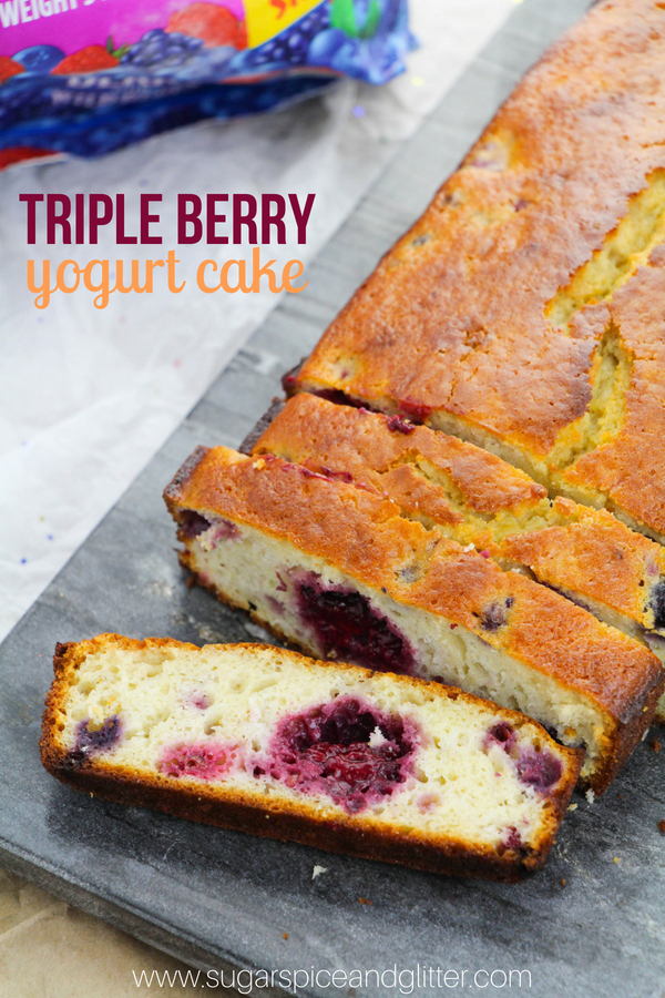 The easiest cake you will ever make - this traditional French Yogurt Cake is an old-fashioned tea cake made with just 5 ingredients - plus a good helping of blueberries, raspberries, and blackberries for good measure