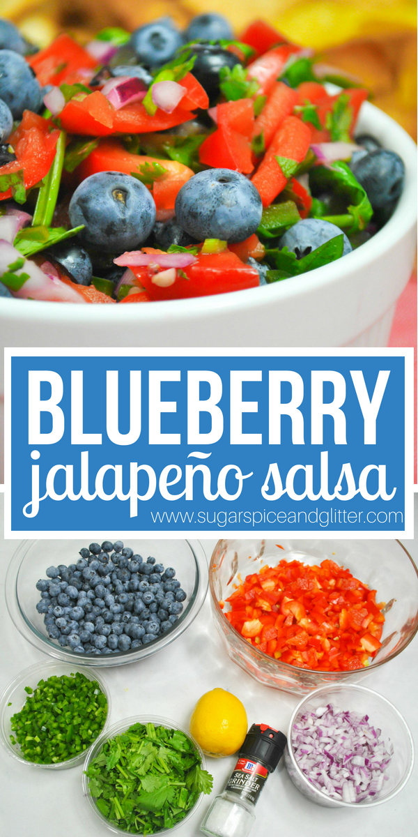 A delicious blueberry salsa recipe with adjustable levels of heat. The perfect fruit salsa for salmon, chicken, or just eating with chips!