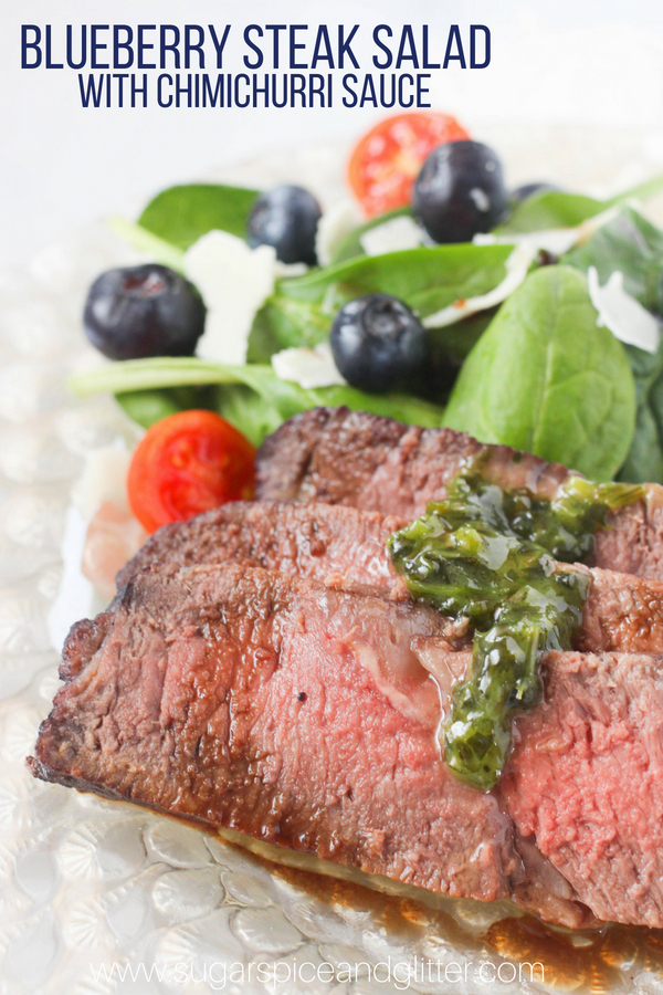 This blueberry steak salad with chimichurri sauce is a delicious meal sized salad and perfect for prep ahead lunches.