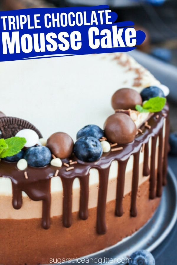 A step-by-step tutorial on how to make a chocolate mousse cake. This triple chocolate mousse cake has a flourless chocolate cake base and three layers of no-bake chocolate mousse for the ultimate decadent dessert