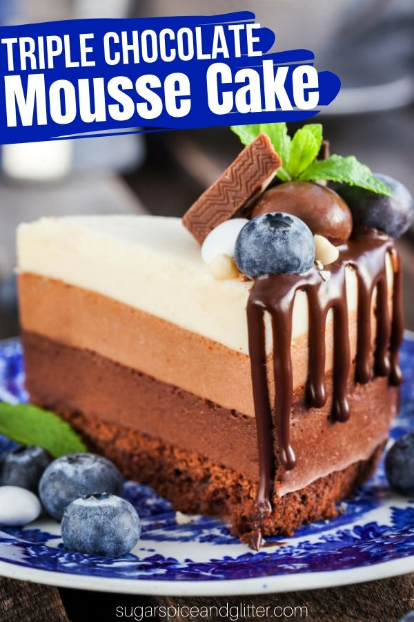 Decadent Triple Chocolate Mousse Cake is the Ultimate Gluten-free Dessert. Three layers of chocolate mousse on top of a flourless chocolate cake base. A showstopper dessert for a special occasion