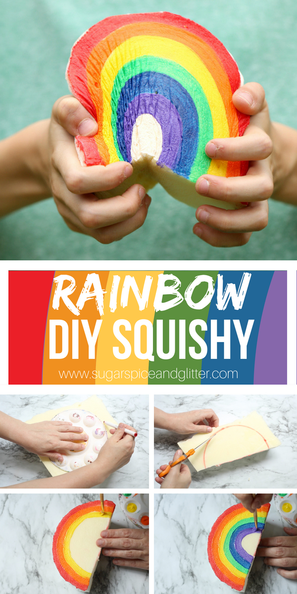 How to make a homemade sensory toy that squishes - this DIY Squishy toy is an easy rainbow craft for kids that doubles as sensory play