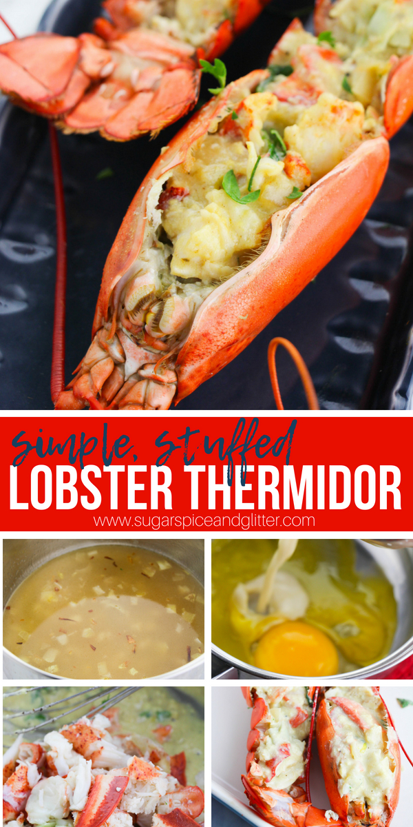 A simple stuffed, baked lobster recipe inspired by the French classic Lobster Thermidor. This creamy, decadent lobster recipe is perfect for special occasion suppers