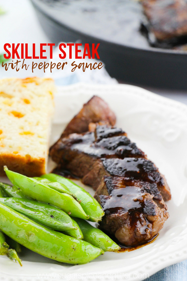 A 10-minute Skillet Steak recipe with a delicious garlic-pepper sauce garnish, this simple steak recipe is a family favorite